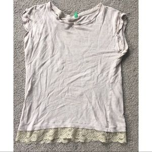 Cream colored lace detail t shirt